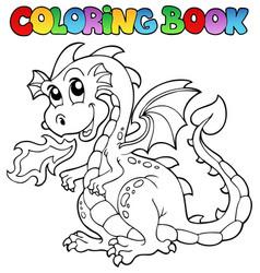 Coloring book dragon theme image 2 vector