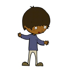 Comic cartoon boy with outstretched arms vector