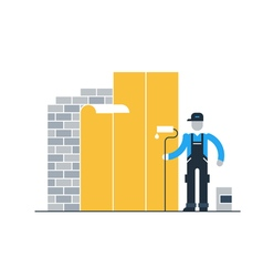Construction worker finishing brick wall vector image