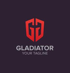 Creative gladiator logo emblem letter g vector