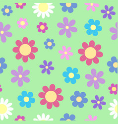 cute stylized daisy flower seamless pattern on vector image