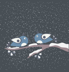 cute winter birds tweeting on a branch of tree vector image
