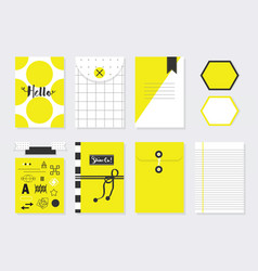 Cute yellow and white trendy paper stationery set vector