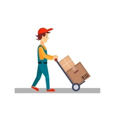 Delivery Man with Cart and Carton Boxes vector image