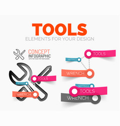 Diagram elements set of tools concept icons vector