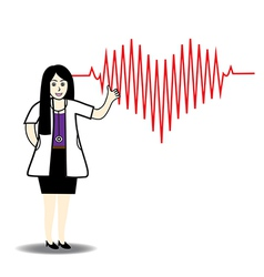 Doctor and red heart beats with cardiogram vector image