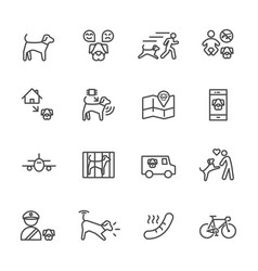 dog is my best friend simple thin line icons set vector image