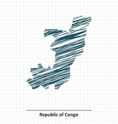 Doodle sketch of Republic of Congo map vector image