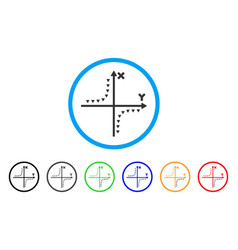Dotted hyperbola plot rounded icon vector