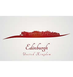 Edinburgh skyline in red vector image