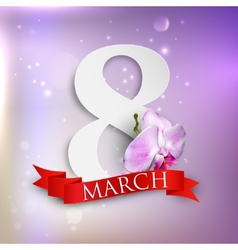 eight march Womens Day greeting card with paper vector image