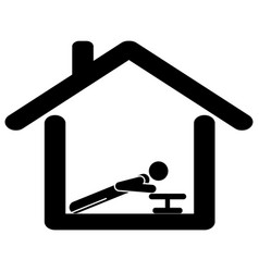 Exercise from at home pictograph depicting man vector