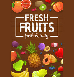 farm harvest organic fruits and berries vector image
