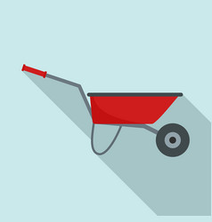 farming wheelbarrow icon flat style vector image