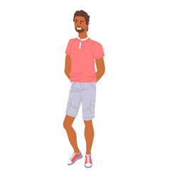 fashionable macho guy in stylish outfit isolated vector image