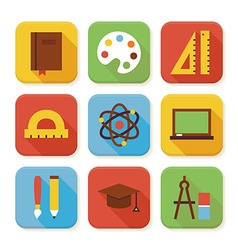 Flat School and Education Squared App Icons Set vector image
