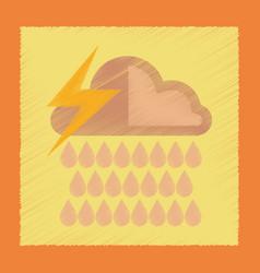 Flat shading style icon thunderstorm rain cloud vector