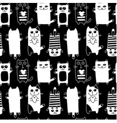 funny cats seamless pattern for your design vector image