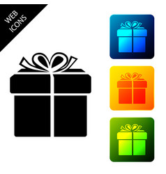 gift box icon isolated on white background set vector image