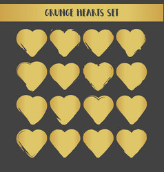 Grunge gold hearts set abstract vector