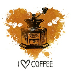 Hand drawn vintage coffee background with splash vector