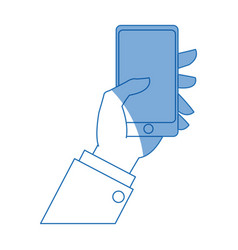 Hand with smartphone online application payment vector