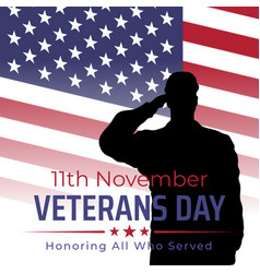 Happy veterans day banner silhouette a vector