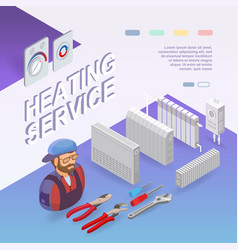 Heating service isometric concept worker vector