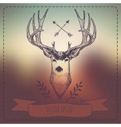Hipster Style Vintage Elements with Deer for Retro vector image