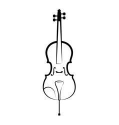 isolated cello outline musical instrument vector image