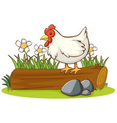 Isolated picture chicken on log vector