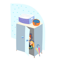 Kids hiding in closet play hide-and-sick game vector