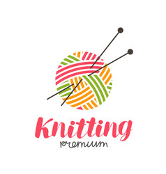 Knitting logo or label needlework knit ball of vector
