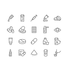 Line Pills Icons vector image