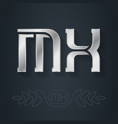 M and x initial silver logo mx - metallic 3d icon vector