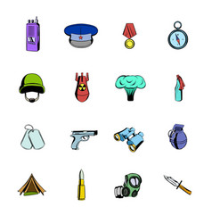 military and war icons set cartoon vector image