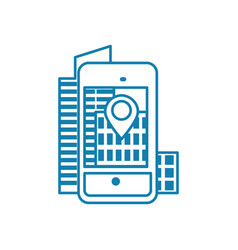 mobile navigation linear icon concept mobile vector image