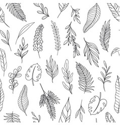 modern line art tropical leaves seamless pattern vector image