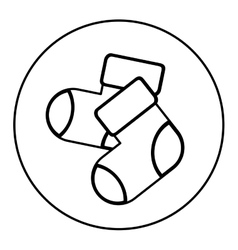 monochrome contour with baby socks in round frame vector image