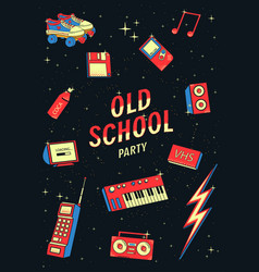 old school elements set retro and disco vector image