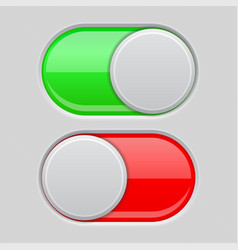 On and off toggle switch buttons red and green 3d vector