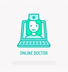 online doctor doctor on screen laptop vector image