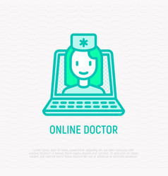 online doctor doctor on screen of laptop vector image