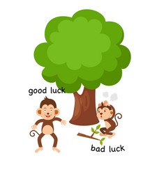 Opposite good luck and bad luck vector