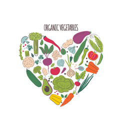 organic vegetables hand drawn color vector image