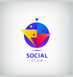 people group logo social net club vector image