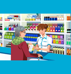 Pharmacist helping an elderly person vector