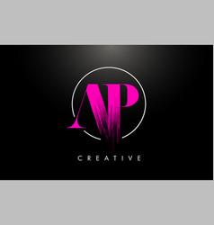 pink ap brush stroke letter logo design vector image
