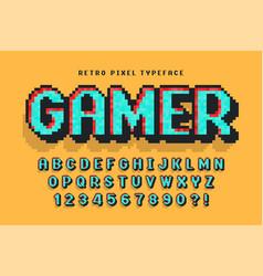 Pixel font design stylized like in 8-bit vector