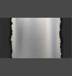 Polished metal plate on a steel background vector